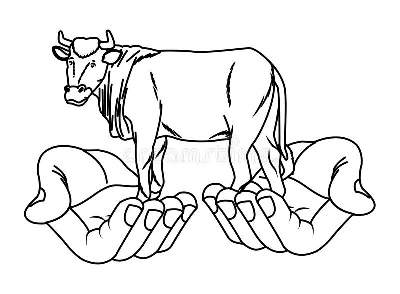 Hands holding sacred cow animal cartoon in black and white stock illustration