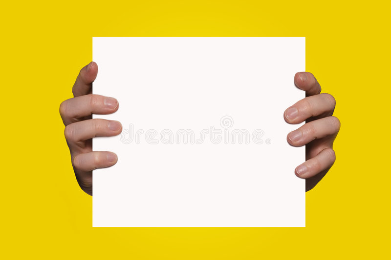Hands holding sign stock photos