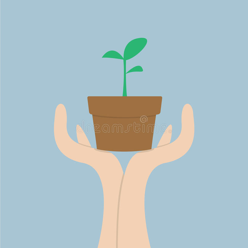Hands holding small plant, Growth concept vector illustration