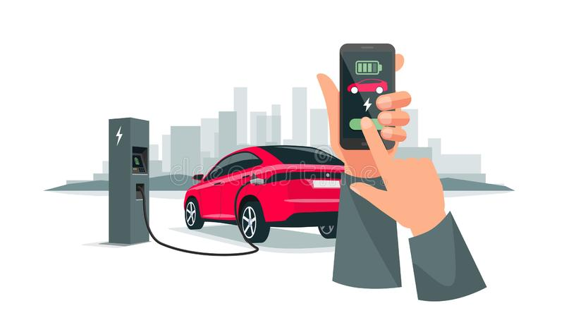 Hands Holding Smartphone with Charging App and Electric Car Recharging Batteries royalty free illustration
