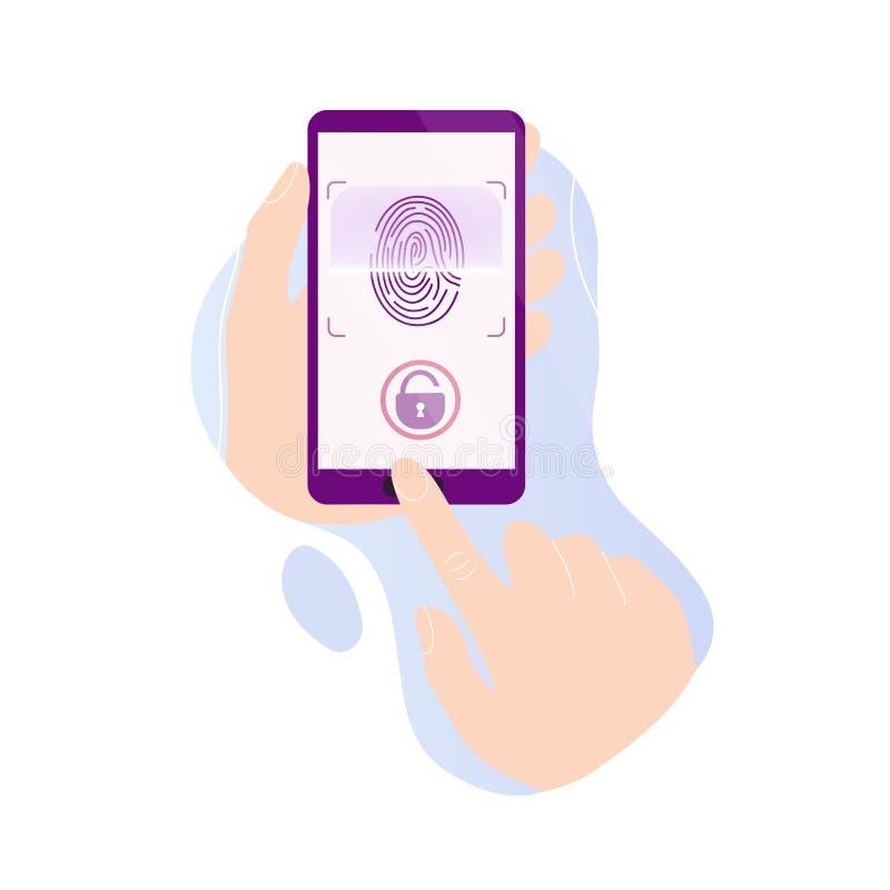 Hands holding phone with fingerprint scan stock illustration