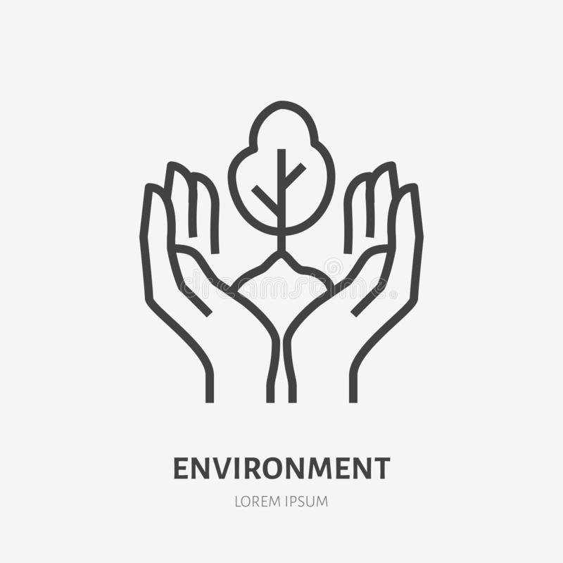 Hands holding soil with tree flat line icon. Vector thin sign of environment protection, ecology concept logo royalty free illustration