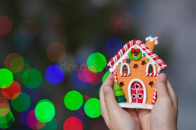 Hands holding a symbol of the new year royalty free stock image
