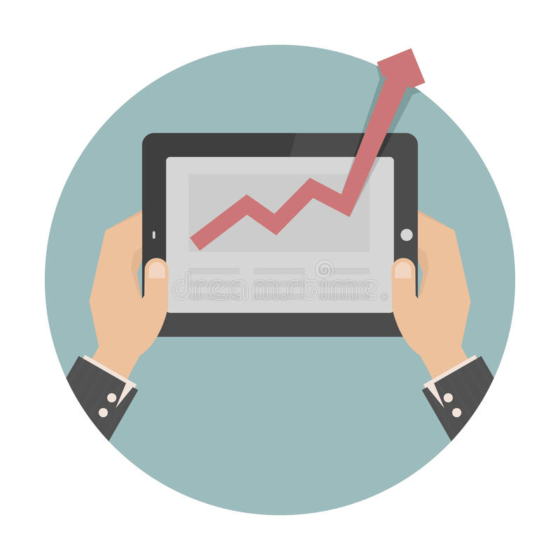 Hands holding a tablet with graph vector illustration