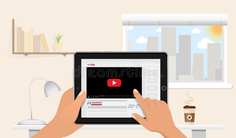 Hands Holding Tablet Pc Mockup With Online Video Blog Screen Above