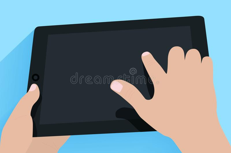 Hands holding tablet pc vector illustration