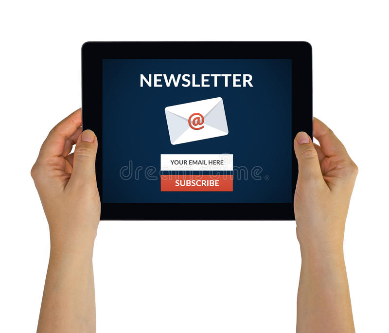 Hands holding tablet with subscribe newsletter concept on screen royalty free stock photography