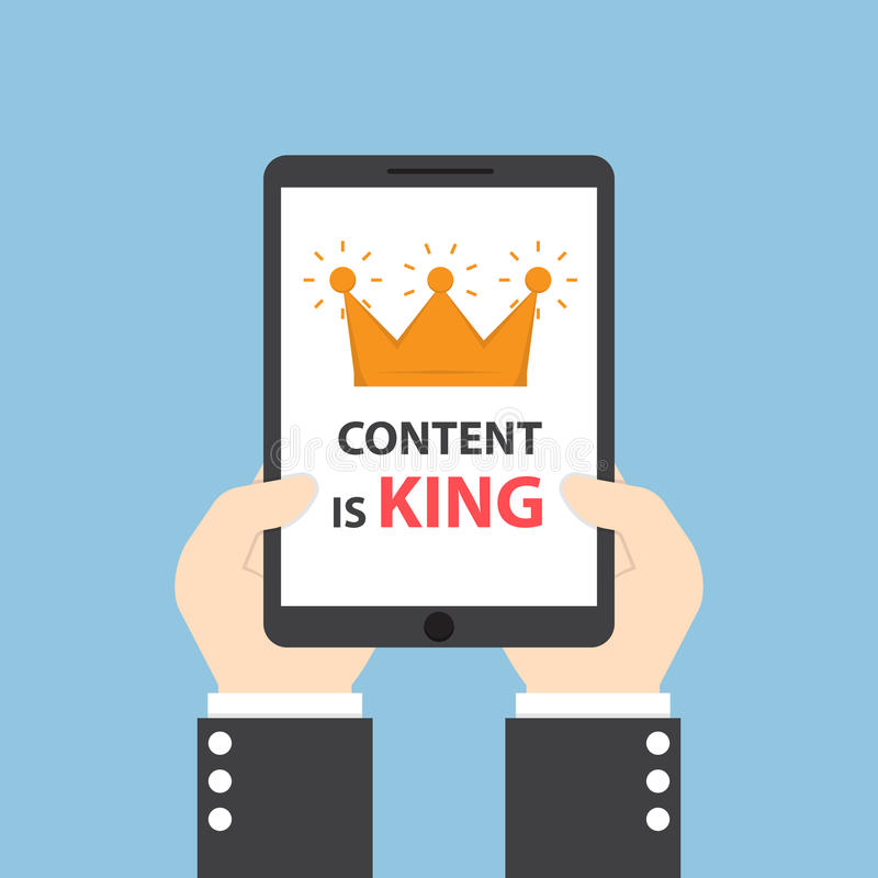 Hands holding tablet with words CONTENT IS KING stock illustration