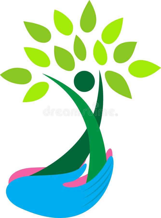 Hands holding tree. Illustration of hands holding tree design isolated on white background