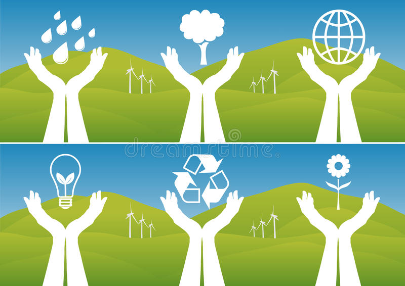 Hands Holding Up Ecological Symbols royalty free illustration