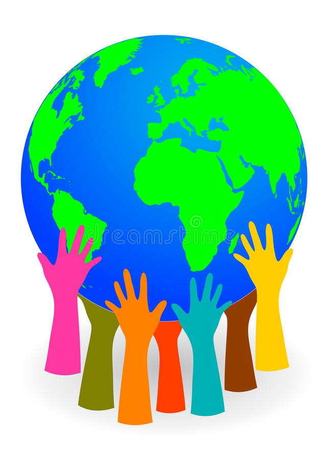 Hands holding up a globe royalty free illustration