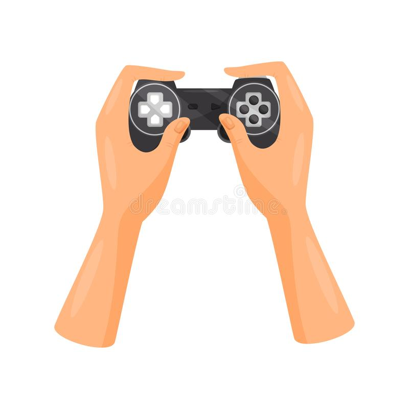Hands holding video game controller, gaming concept vector Illustration on a white background. Hands holding video game controller, gaming concept vector stock illustration