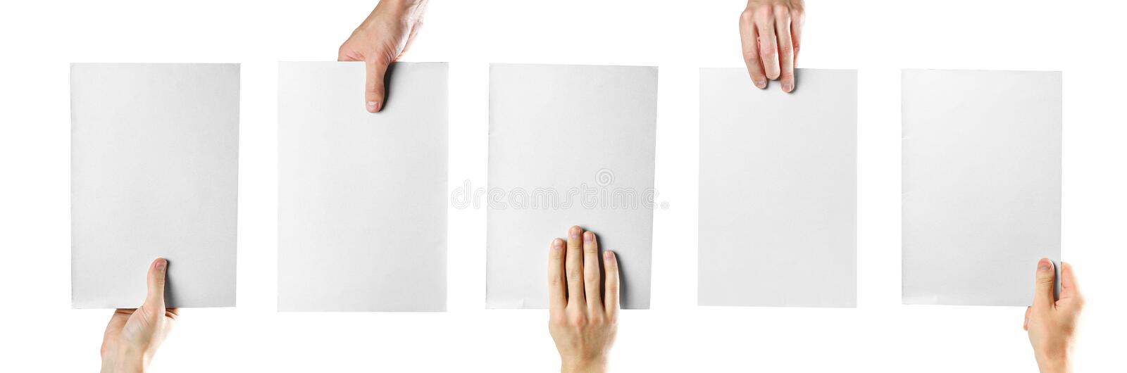 Hands holding white blank paper. Close up. Isolated on white background. stock photography