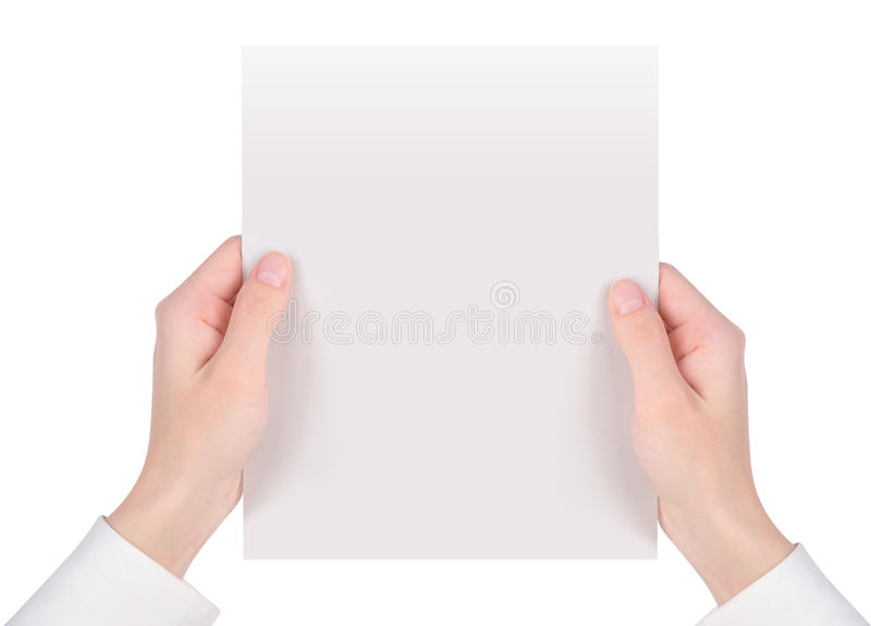 Hands Holding White Paper Sheet royalty free stock photography