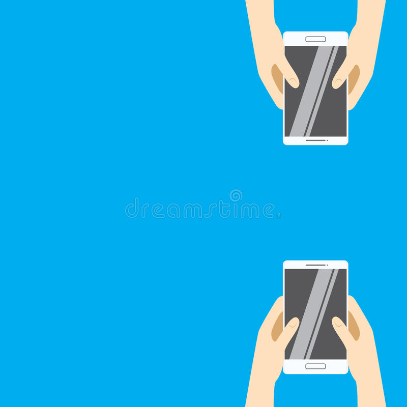 Hands holding white smartphones on a blue background. Vector illustration in flat design. vector illustration