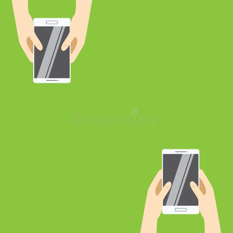 Hands holding white smartphones on a green background. Vector illustration in flat design. vector illustration