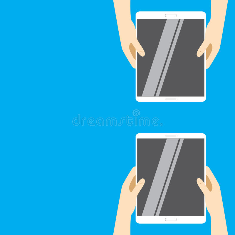 Hands holding white tablet computers on a blue background. Vector illustration in flat design. royalty free illustration