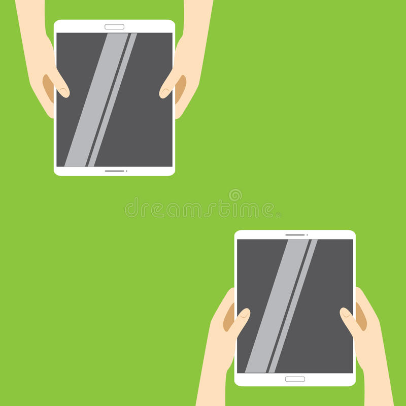 Hands holding white tablet computers on a green background. Vector illustration in flat design. royalty free illustration