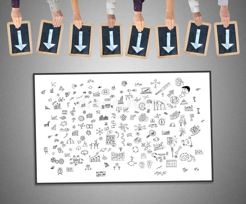 Creativity concept on a whiteboard. Hands holding writing slates with arrows pointing on creativity concept stock photography