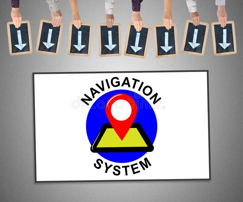 Navigation system concept on a whiteboard. Hands holding writing slates with arrows pointing on navigation system concept stock illustration