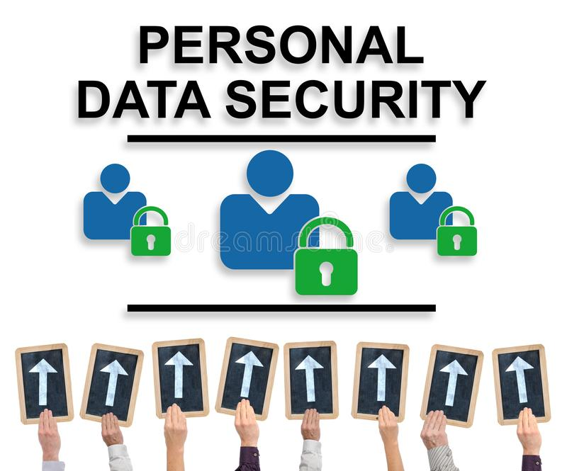 Personal data security concept on a whiteboard. Hands holding writing slates with arrows pointing on personal data security concept stock images