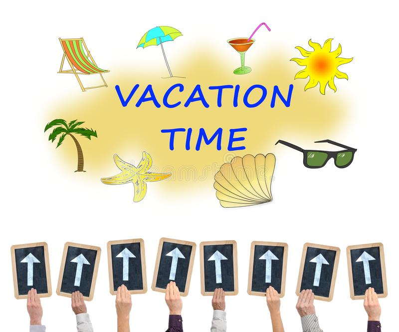 Vacation time concept on a whiteboard. Hands holding writing slates with arrows pointing on vacation time concept vector illustration