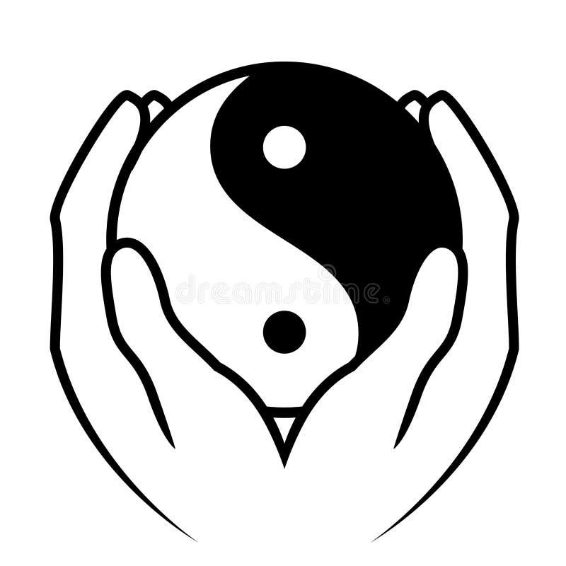 Hands holding yin yang symbol. Vector illustration of hands holding yin yang symbol royalty free illustration