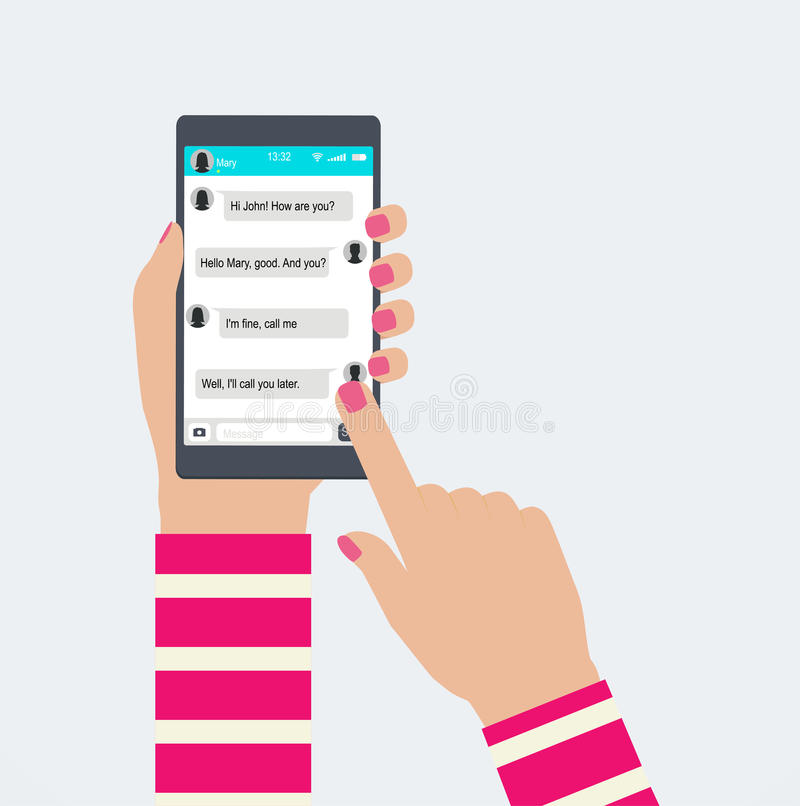 Hands holds mobile phone with messaging in app. stock illustration