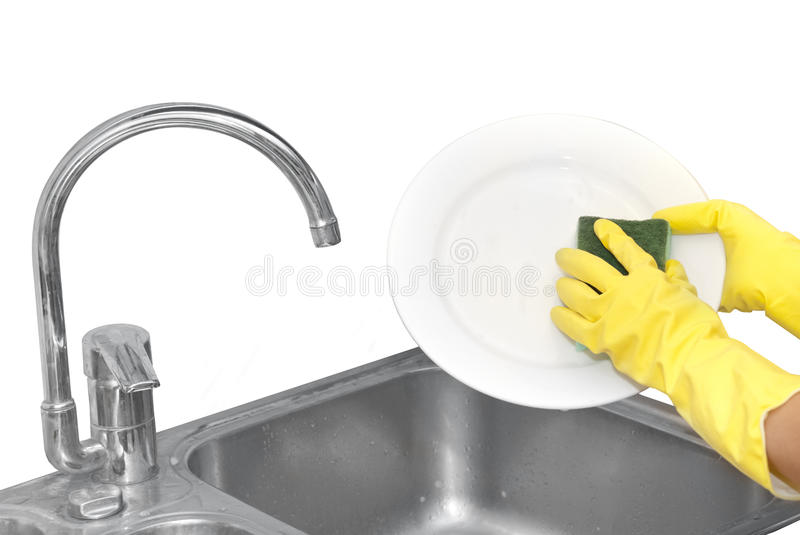 Hands in household gloves stock photos