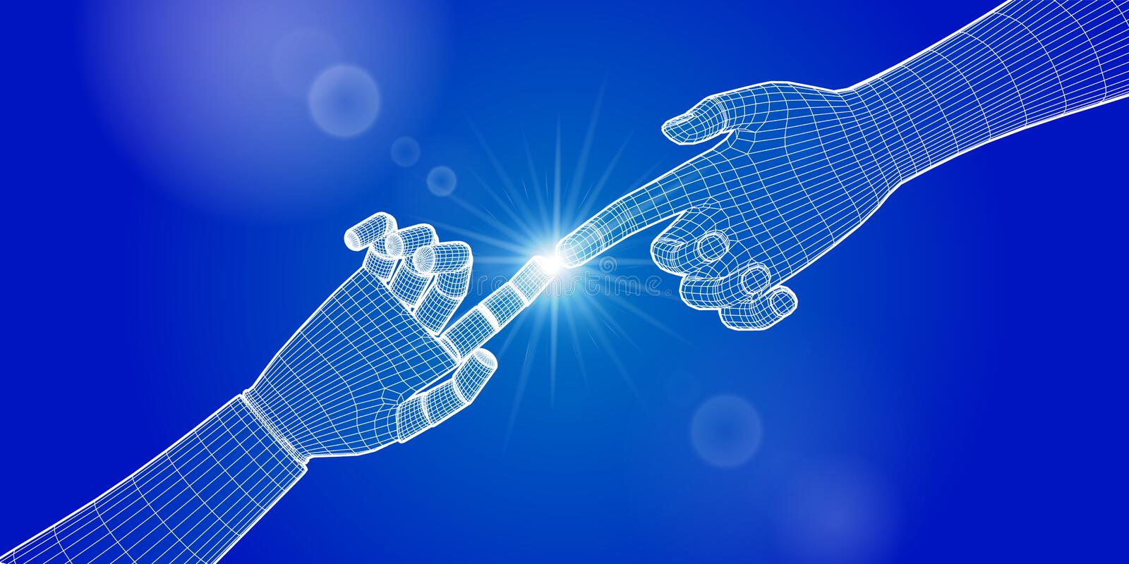 Hands of human and robot  touching. Cyborg to touch human finger. People and artificial intelligence. Science and technology royalty free stock photo