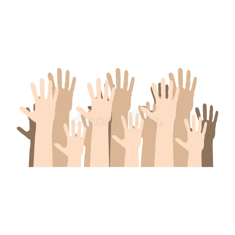 hands human up democracy ison stock illustration