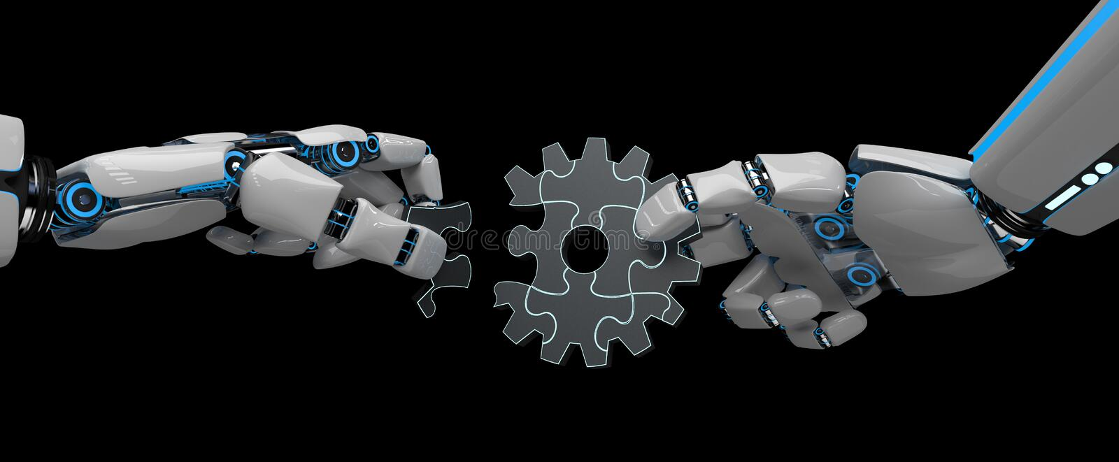 Humanoid Robot Gear Wheel Puzzle. Hands of the humanoid robot with gear wheel puzzle stock illustration
