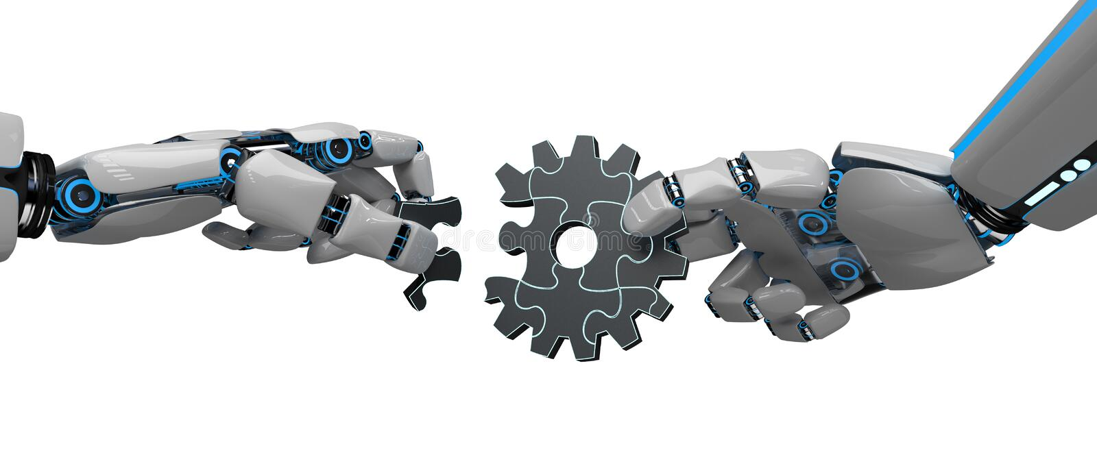 Humanoid Robot Gear Wheel Puzzle. Hands of the humanoid robot with gear wheel puzzle vector illustration