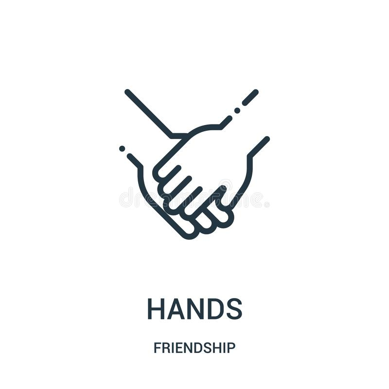 Hands icon vector from friendship collection. Thin line hands outline icon vector illustration. Linear symbol for use on web and. Mobile apps, logo, print media vector illustration