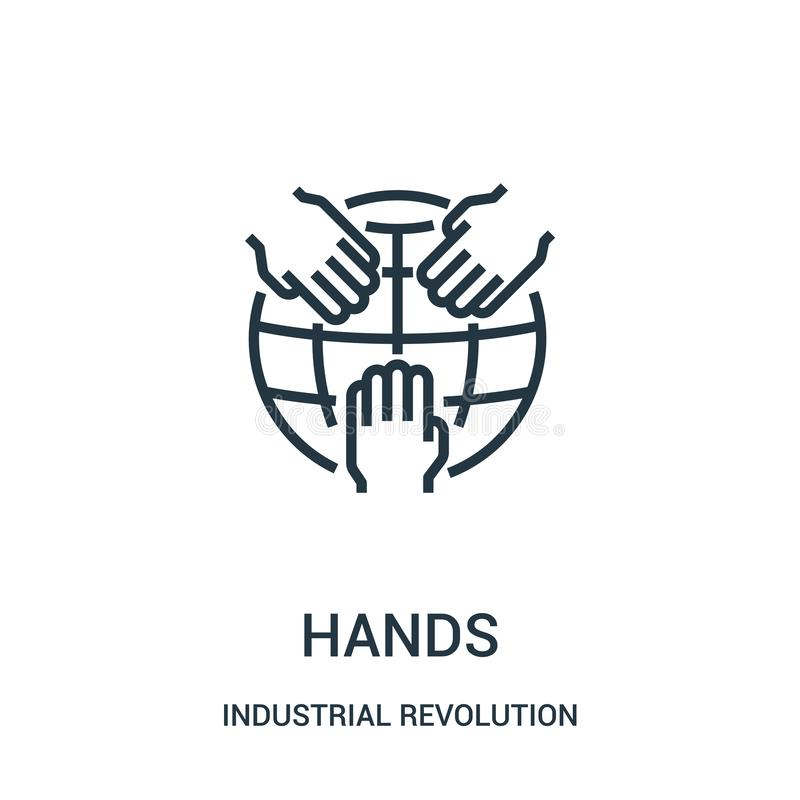 Hands icon vector from industrial revolution collection. Thin line hands outline icon vector illustration. Linear symbol for use on web and mobile apps, logo vector illustration