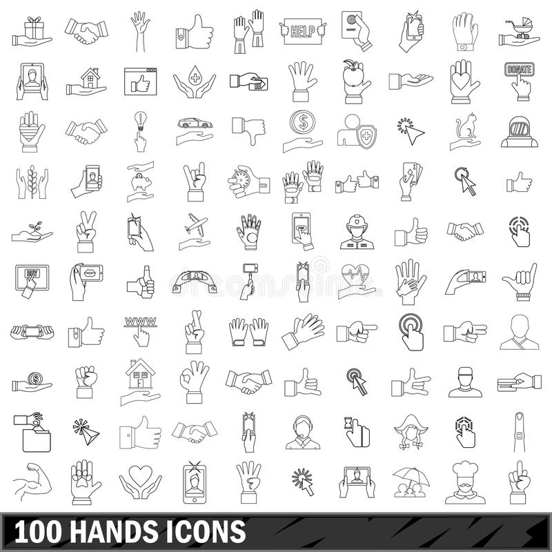 100 hands icons set, outline style stock illustration