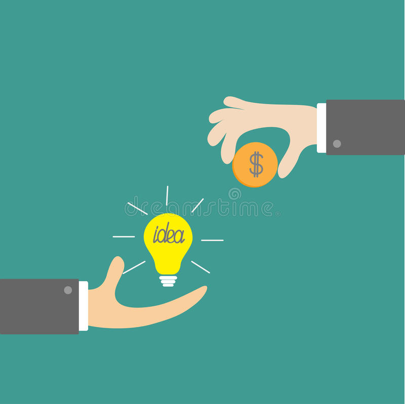 Hands with idea bulb and money coin. Exchanging concept. Flat de. Sign style. Vector illustration stock illustration