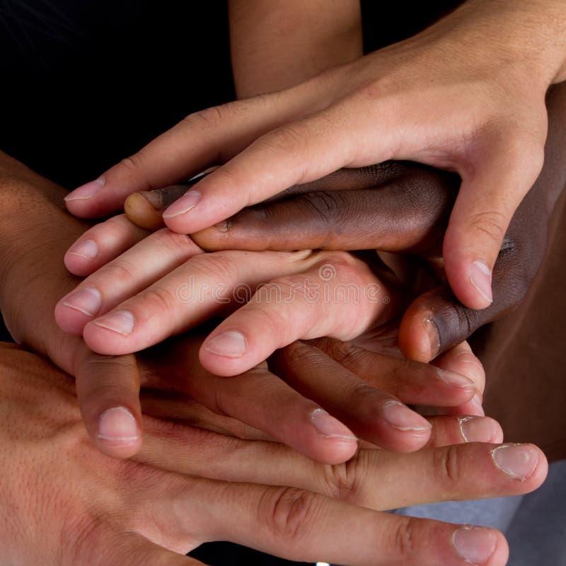 hands interracial royaltyfria foton