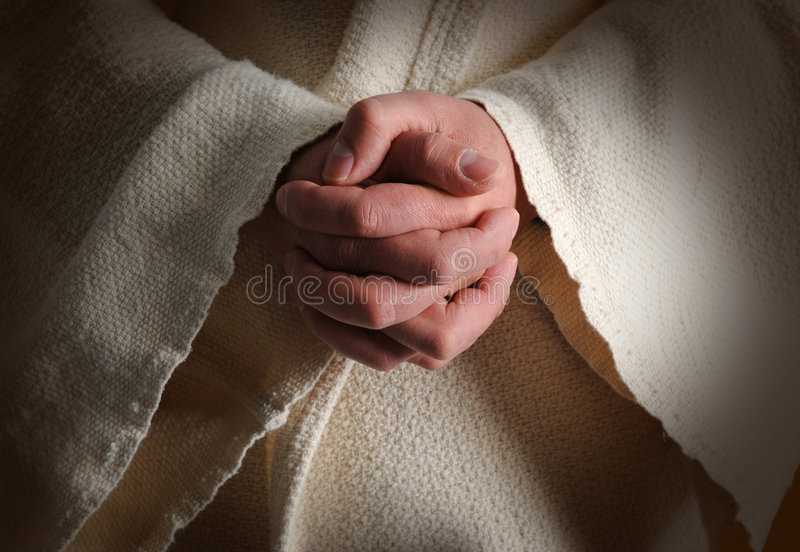 The Hands of Jesus. Clasped in prayer