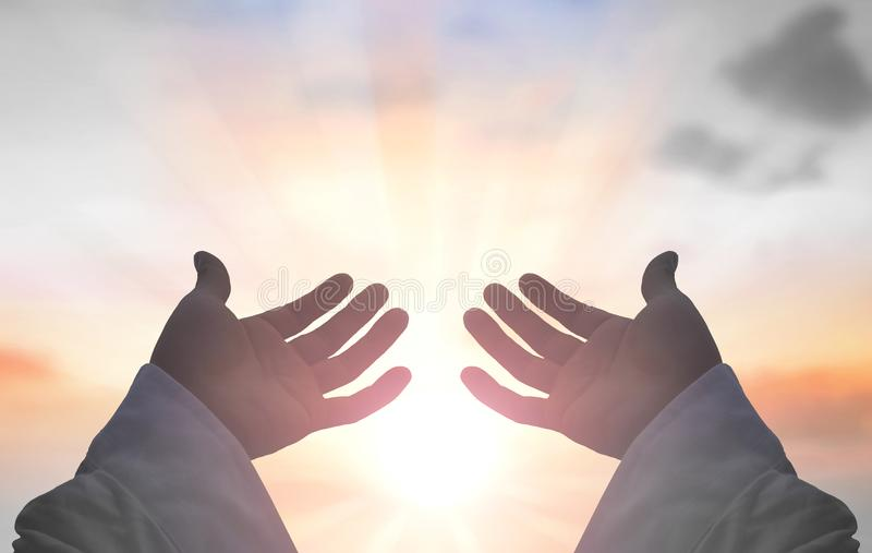 Hands of Jesus Christ silhouette royalty free stock images
