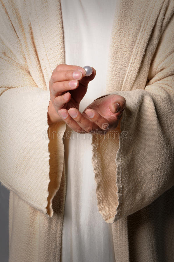 Download Hands Of Jesus Holding Pearl Stock Image - Image: 9640705
