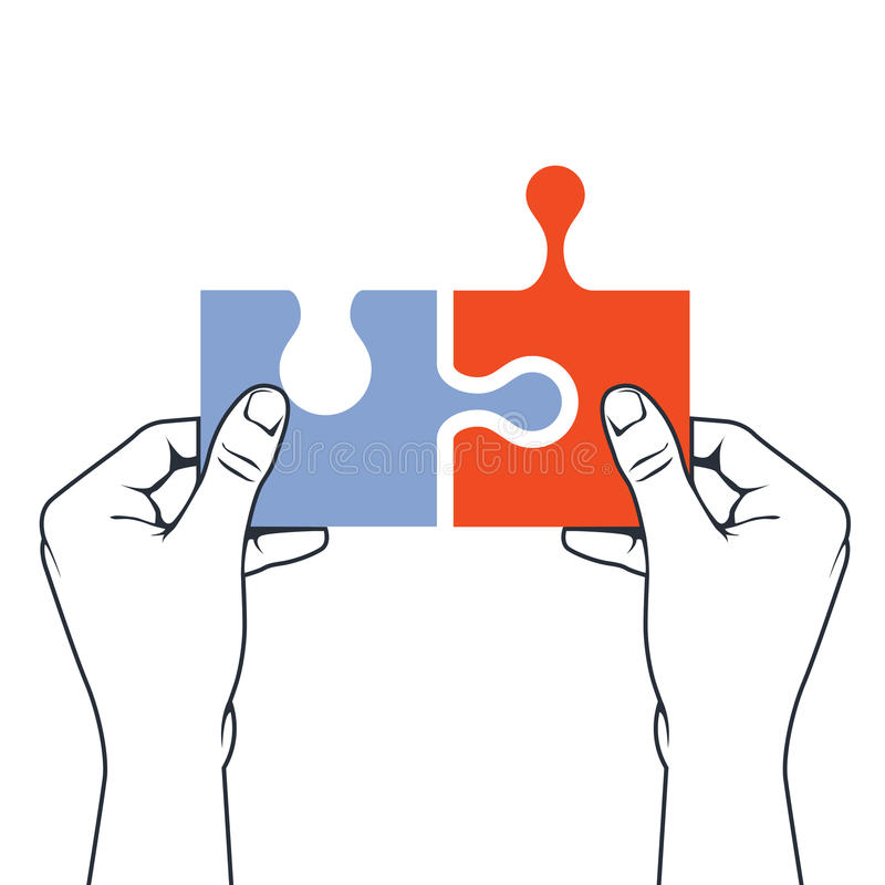 Hands joining puzzle piece - association concept. Hands joining puzzle piece - association and merger concept royalty free illustration