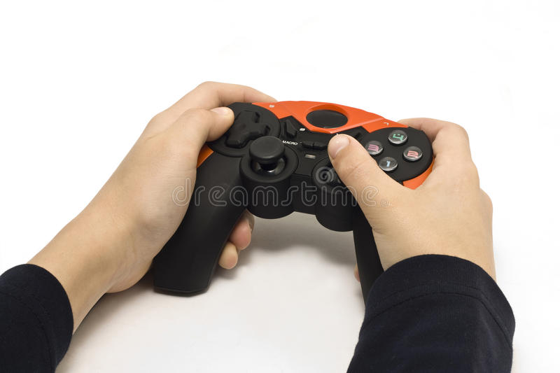Hands from the joystick stock image