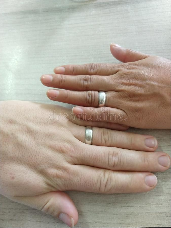 Hands Just Married Rings royalty free stock image