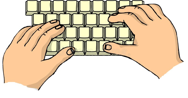 Hands on a keyboard stock illustration