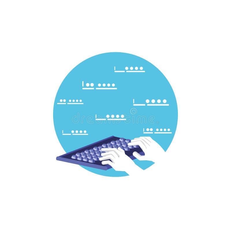 Hands with keyboard computer in frame circular. Vector illustration design vector illustration