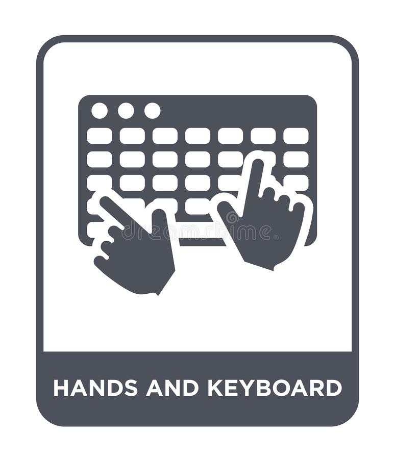 hands and keyboard icon in trendy design style. hands and keyboard icon isolated on white background. hands and keyboard vector stock illustration