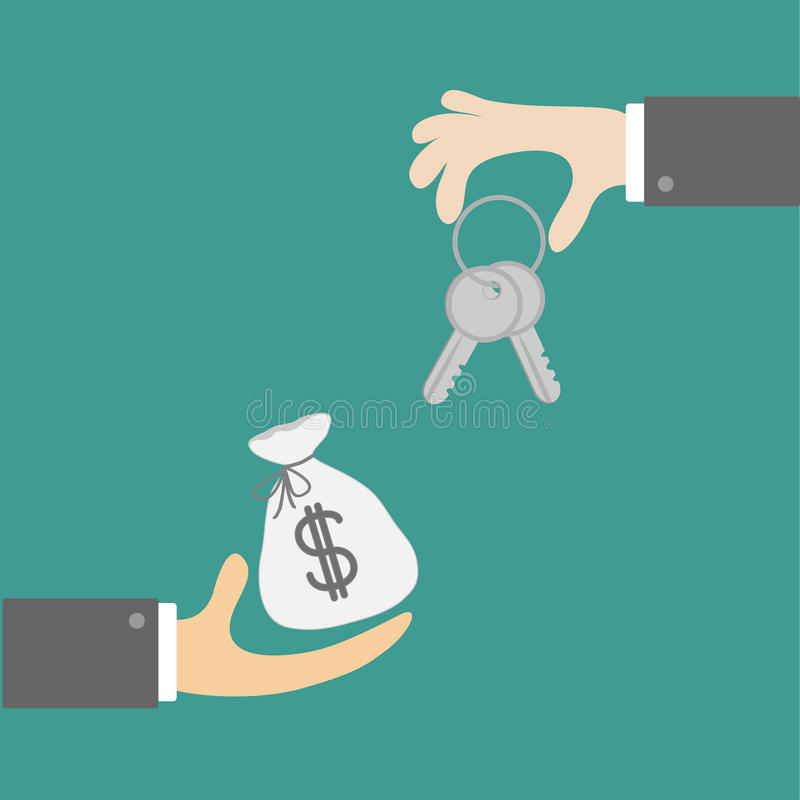 Hands With Keys And Money Bag. Exchanging Concept. Flat