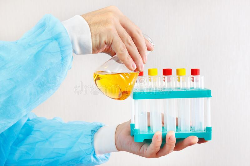 Hands of laboratory assistant doing chemical analysis in laboratory stock images