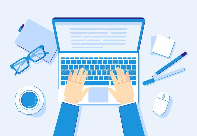 Hands on laptop. Computer work, business worker typing on notebook keyboard and office workplace vector illustration. Hands on laptop. Computer work, business vector illustration